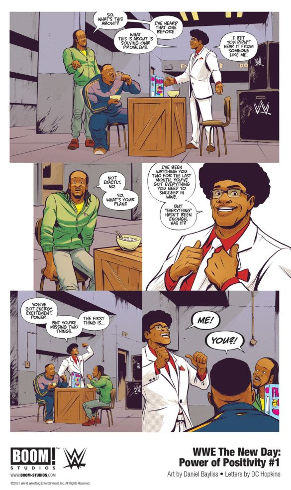 WWE_NewDay_PowerPositivity_001_InteriorArt_005_PROMO-1 First Look at WWE THE NEW DAY: POWER OF POSITIVITY #1 from BOOM! Studios