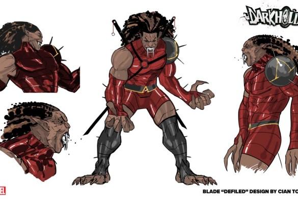 Blade_Darkhold_Design Iron Man and Blade battle THE DARKHOLD this October