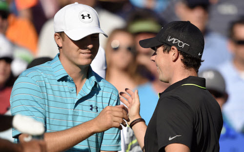 Jordan Spieth and Rory McIlroy at the 2015 PGA Championship, image: cbssports.com