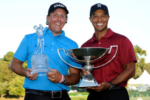 Phil Mickelson and Tiger Woods at the end of the 2009 Season, image: back9network.com