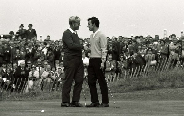 Jack Nicklaus and Tony Jacklin during the 1969 Ryder Cup, image: liverpoolecho.co.uk