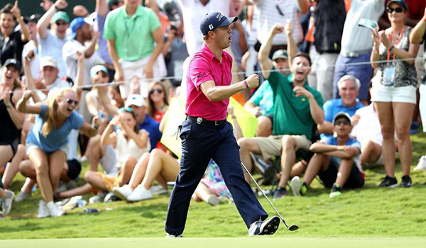Justin Thomas After Birdie on 13 at PGA Championship, image: sfgate.com