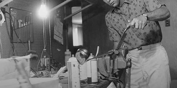Arnold Palmer Working in His Workshop, image: arnoldpalmer.com