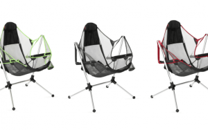 marketing photo of the stargaze reclining camping chair in all three available colors.