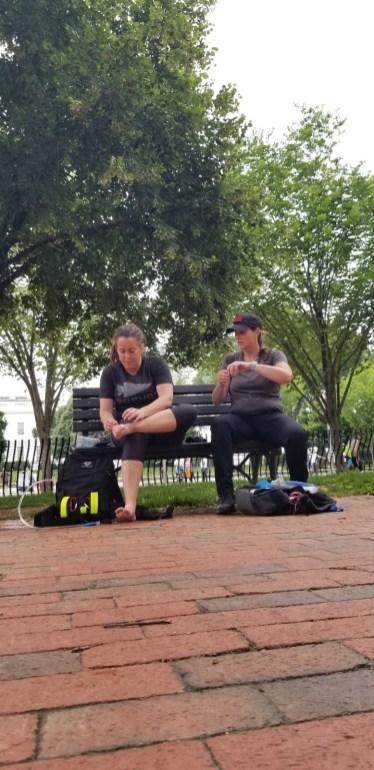 Resting on bench