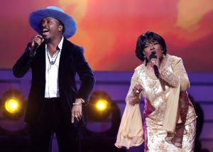 LOS ANGELES, CA - JANUARY 09:  Singer Anthony Hamilton (L) and Pastor Shirley Caesar perform onstage during BET Celebration Of Gospel 2016 at Orpheum Theatre on January 9, 2016 in Los Angeles, California.  (Photo by Mark Davis/BET/Getty Images for BET)