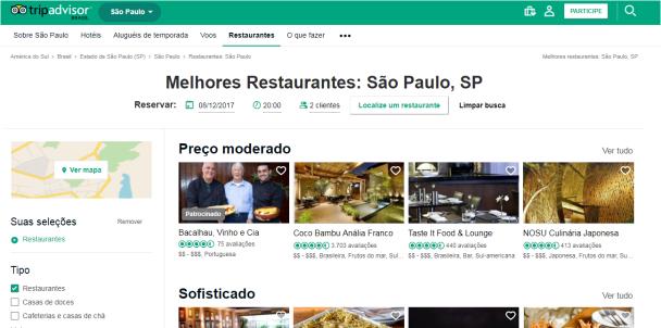 Captura de tela do site TripAdvisor mostrando os melhores restaurantes em São Paulo