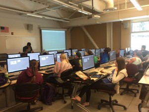 Students work on projects during a BIM class at California Polytechnic University. image courtesy of Elbert Speidel