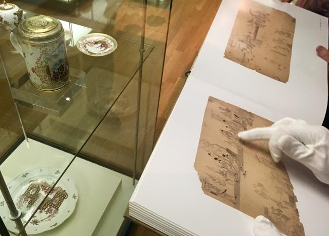 """Detail Faksimile des """"Schulz-Codex"""" - einem aus dem Nachlass des Leipziger Kaufmanns G.W.Schulz erworbenes Konvolut von 124 Musterblättern mit über 1000 Einzelskizzen   Fotos S.v.Gwinner"""