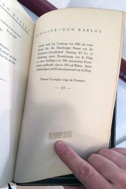 """Friedrich Schiller, """"Don Karlos"""", Hamburger Presse v. d. Druckerei Gesellschaft Hartung & Co. 1918, Steinzeichnung, Einband Franz Weisse"""
