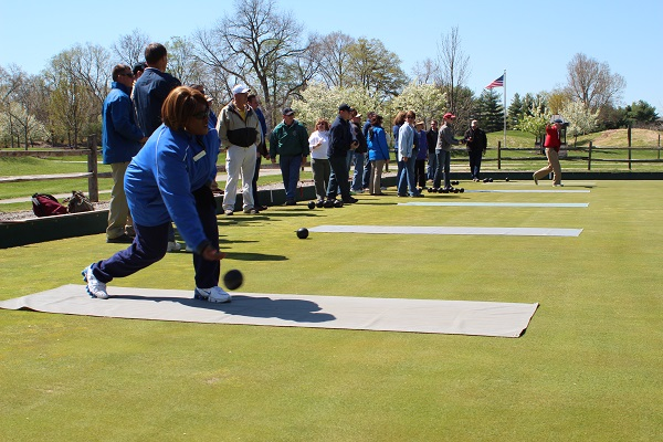 Great Parks employees trying lawn bowling during an in-service day