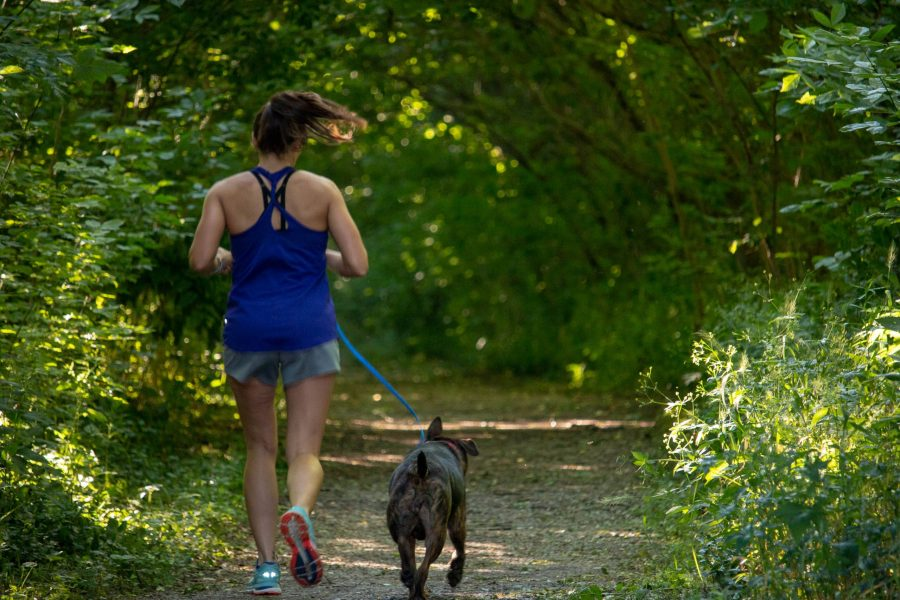 A woman runs on a trail with her dog running next to her, leashed.