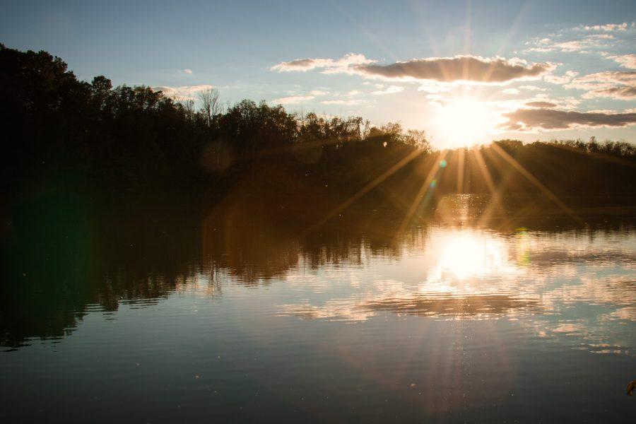Sunrise over a lake.