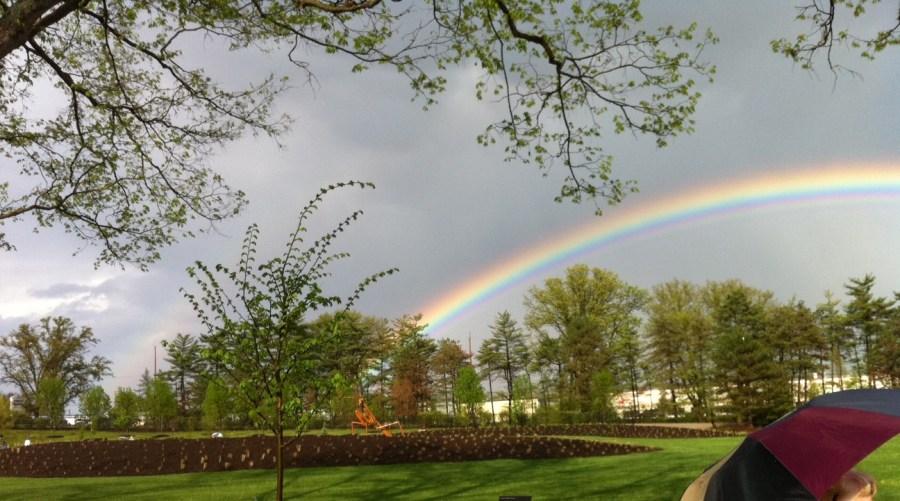 A rainbow shines over Glenwood Gardens.