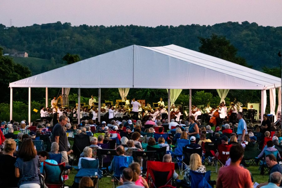 The Cincinnati Pops Orchestra performing at Woodland Mound in July 2019.