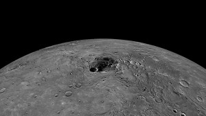 The polar regions of the planet Mercury captured by the Messenger spacecraft.