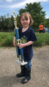 Crosley with their winning trophy at the Kids' Mystery Fish Challenge on May 15, 2021.