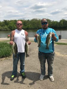 Blake Pincombe and Ronnie Garrett stand with their top four catches of the day on May 16, 2021.