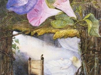 An illustration shows the character Thumbelina sleeping in a bed.