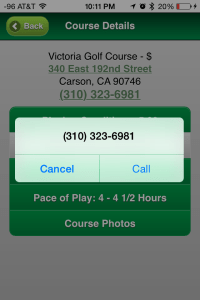 Call your golf course directly from the O/GK mobile site