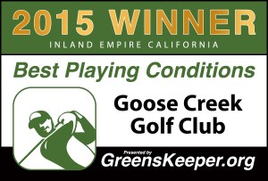 Greenskeeper.Org Best Playing Conditions Award 2015 - Goose Creek Golf Club