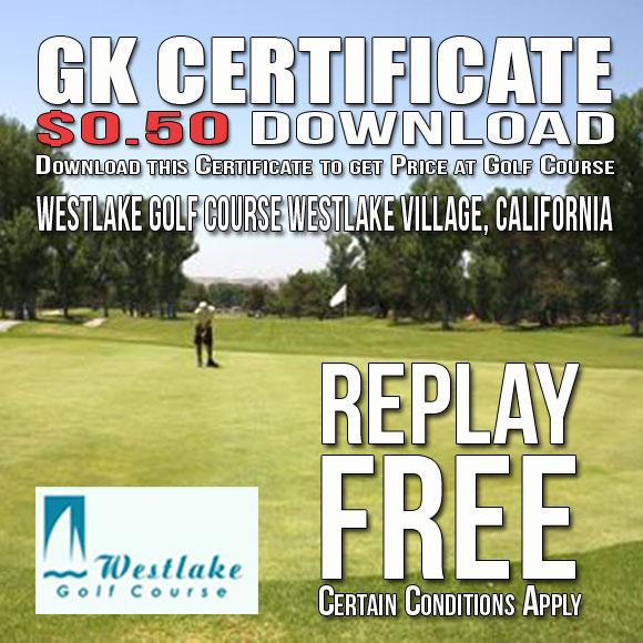Westlake Golf Course GK Certificate