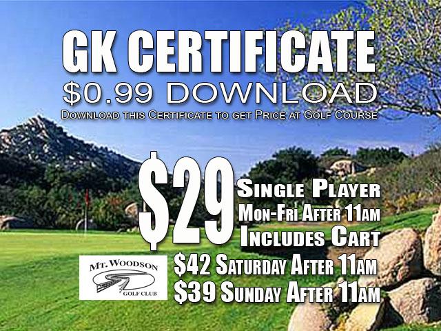 Mt. Woodson Golf Club GK Certificate