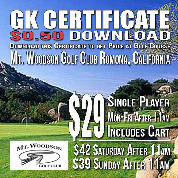 Mt. Woodson Golf Club GK Certificate