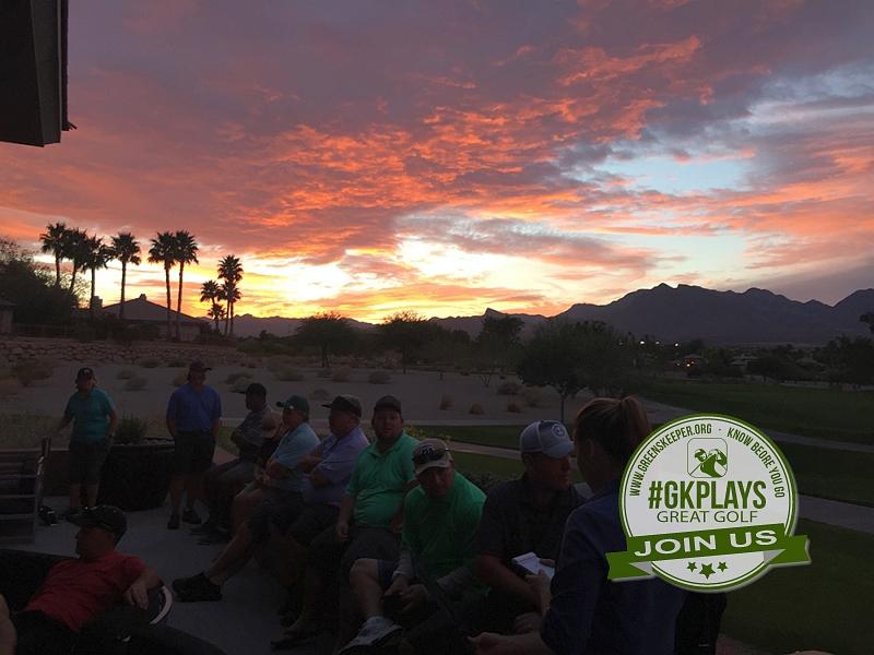 TPC Las Vegas, Las Vegas, Nevada. Kodak moment with the sun setting on the TPC patio