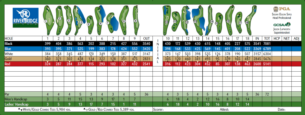 River Ridge Golf Club (VICTORIA LAKES) Oxnard, California Scorecard