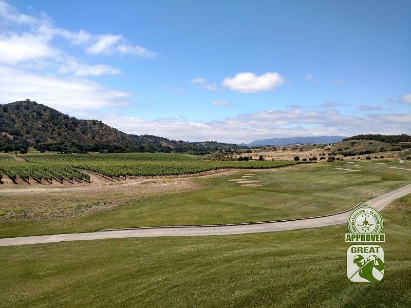 CrossCreek Golf Club Temecula California GK Review Guru Visit - Hole 7 with Vineyards along the side