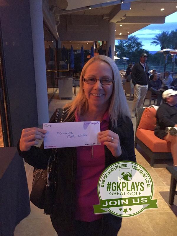 PGA West Nicklaus Tournament La Quinta California Junebug shows off her Golf Voucher for Aliante Golf Club in Las Vegas NV
