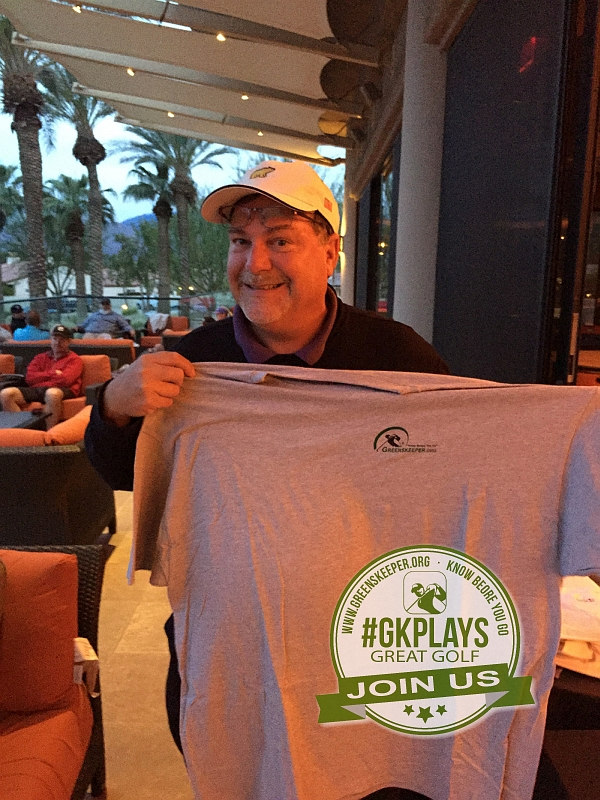 PGA West Nicklaus Tournament La Quinta California Kathy shows off her San Dimas GC Golf Voucher for Two
