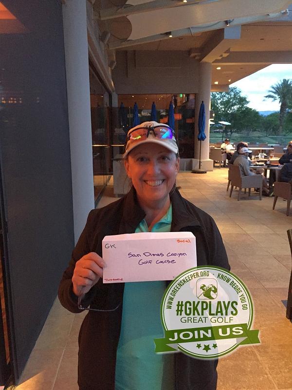 PGA West Nicklaus Tournament La Quinta California abbacat shows off her San Dimas GC Twosome Voucher