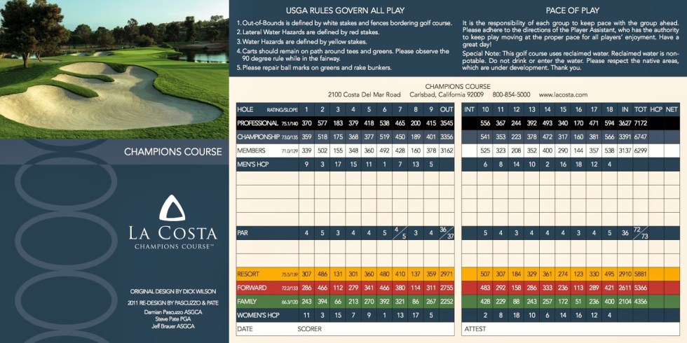 Omni Hotel La Costa Resort & Spa Champion Course Scorecard Carlsbad California