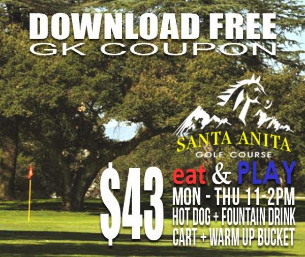 Santa Anita Golf Course Arcadia California Eat & Play GK Coupon