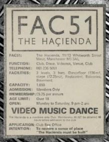 Hacienda advert 1982