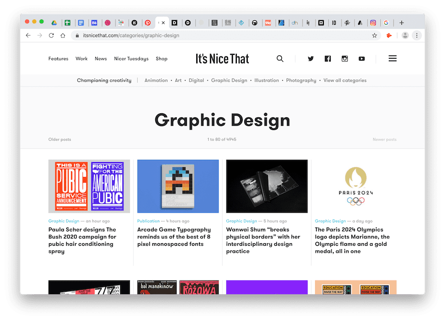 screenshot of it's nice that's graphic design section