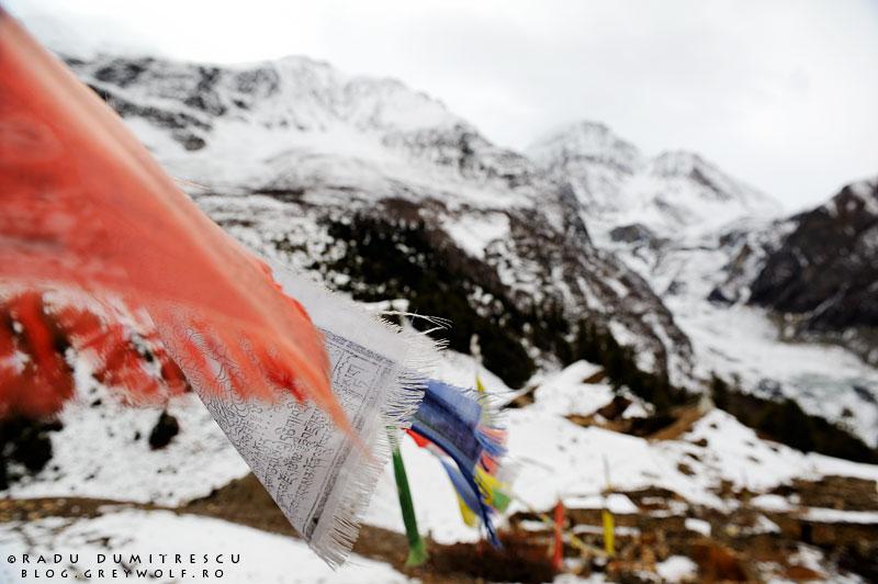 Steaguri nepaleze de rugăciune, în zona masivului Annapurna, având un ghețar suspendat în fundal. Manang, Himalaya, Radu Dumitrescu 2010.