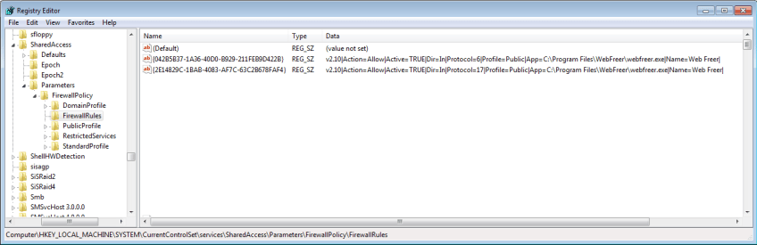 Firewall rules added by WebFreer installer