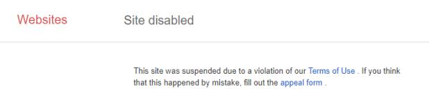 Google disables malicious site. Nice job!