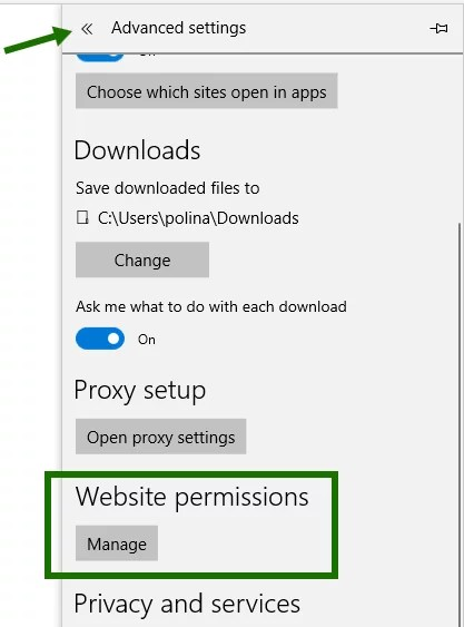 Disable pop-ups in Edge - step 2