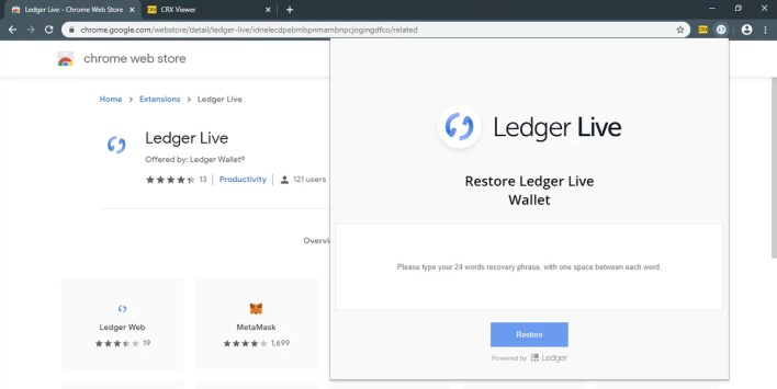 Malicious extension Ledger Live