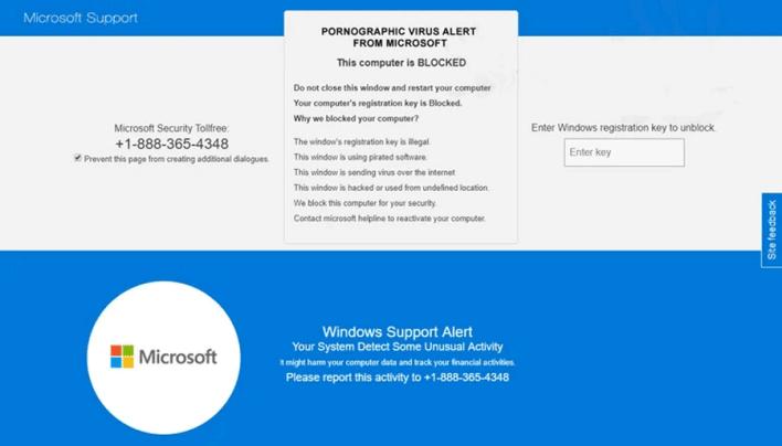 Pornographic virus alert from Microsoft banner