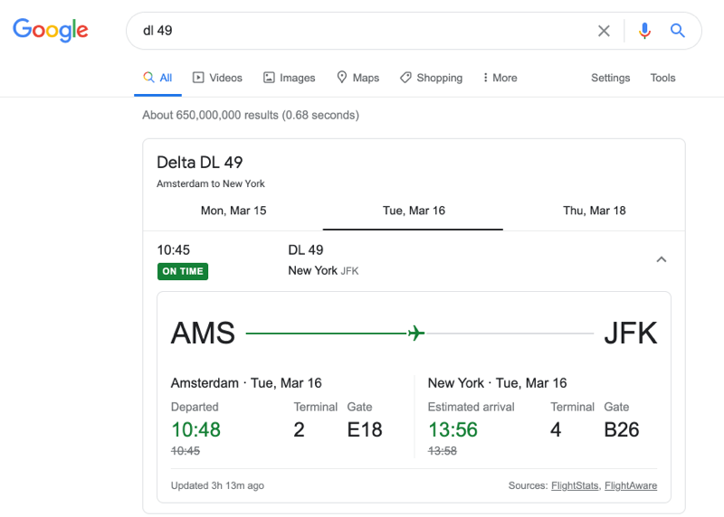 Інформацію про конкретний рейс можна отримати просто зазначивши номер рейсу у полі вводу