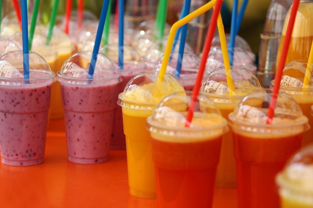 Many delicious, colorful smoothies at a Smoothie King fundraising event