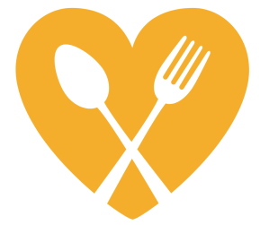 Orange heart with white spoon and fork - part of Takeout for Good logo