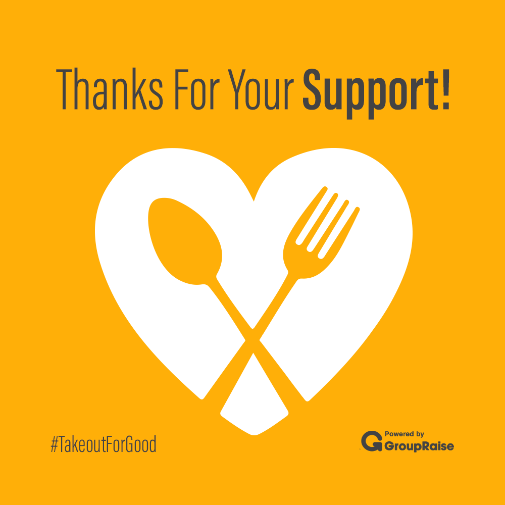 "Heart with fork and knife and message, ""Thanks For Your Support!"""