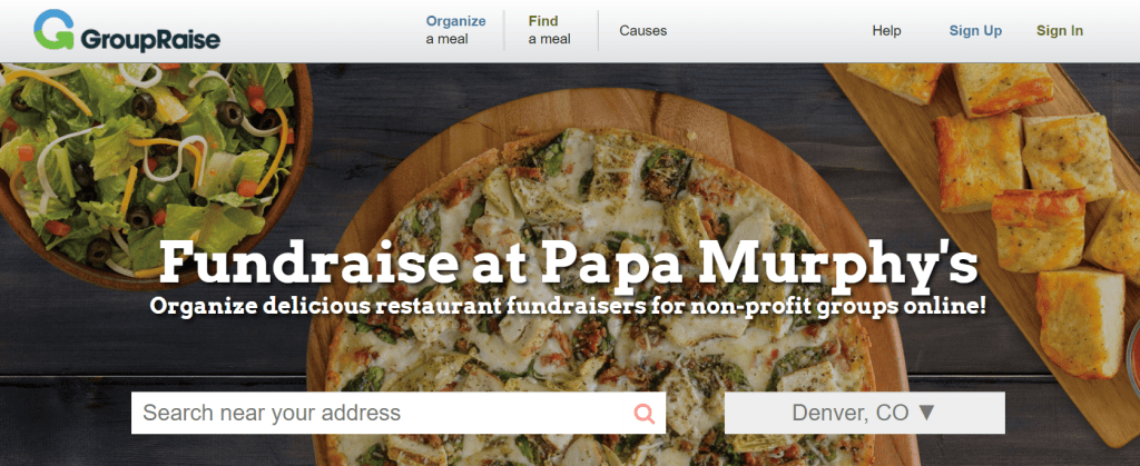 Screenshot showing the Papa Murphy's brand page from GroupRaise.com