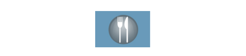 Graphic of fork and knife on dark blue plate with light blue background